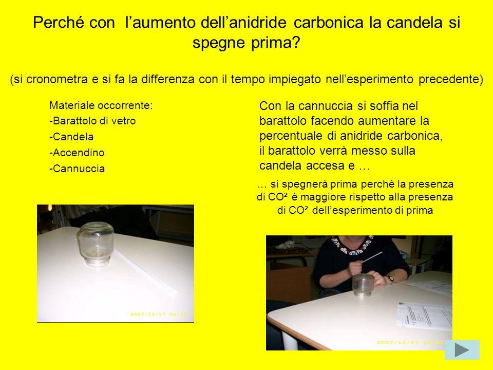 Perché con laumento dellanidride carbonica la candela si spegne prima? (si cronometra e si fa la differenza con il tempo impiegato nellesperimento pre