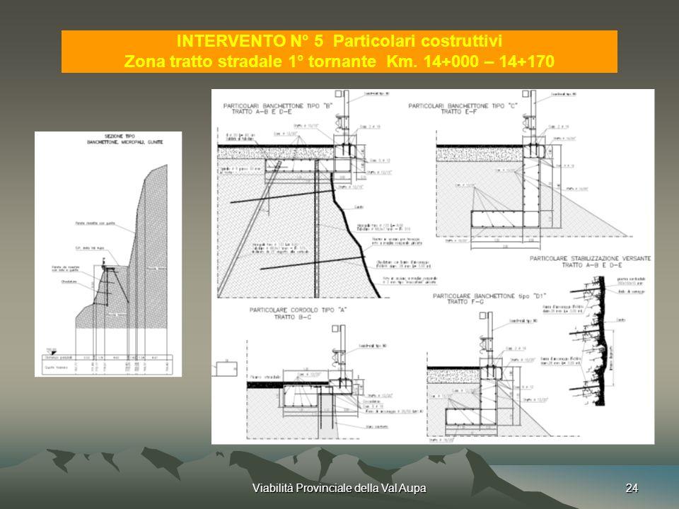 Viabilità Provinciale della Val Aupa24 INTERVENTO N° 5 Particolari costruttivi Zona tratto stradale 1° tornante Km.