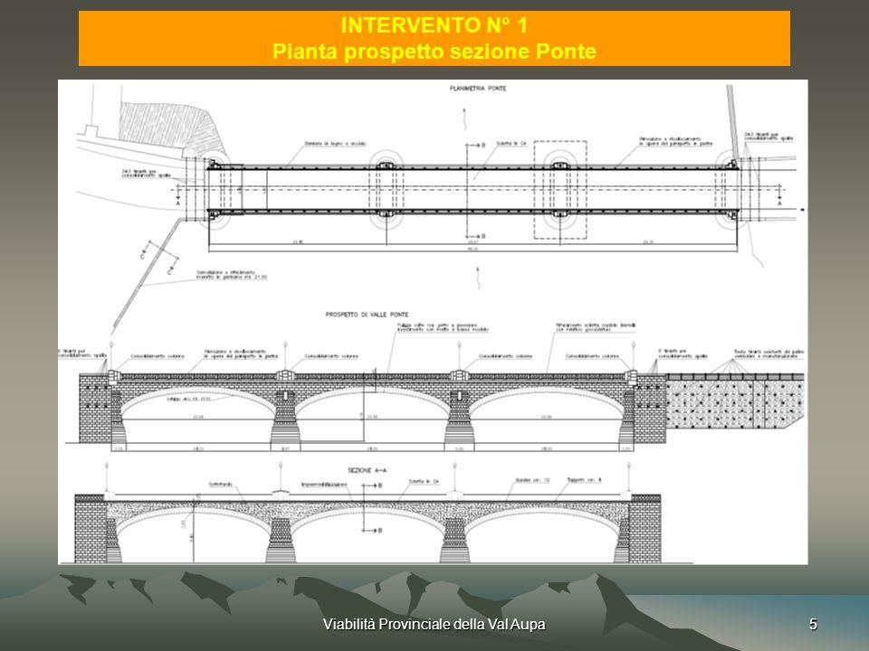 Viabilità Provinciale della Val Aupa5 INTERVENTO N° 1 Pianta prospetto sezione Ponte