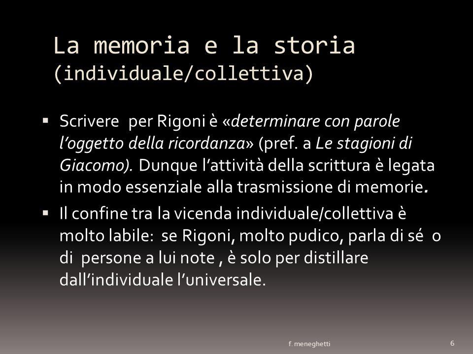 La memoria e la storia (individuale/collettiva) Scrivere per Rigoni è «determinare con parole loggetto della ricordanza» (pref. a Le stagioni di Giaco