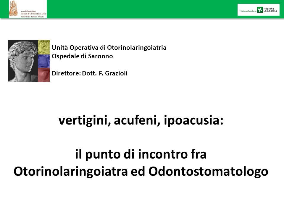 Unità Operativa di Otorinolaringoiatria Ospedale di Saronno Direttore: Dott. F. Grazioli vertigini, acufeni, ipoacusia: il punto di incontro fra Otori