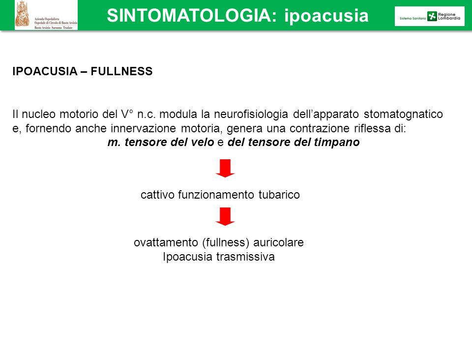IPOACUSIA – FULLNESS Il nucleo motorio del V° n.c. modula la neurofisiologia dellapparato stomatognatico e, fornendo anche innervazione motoria, gener