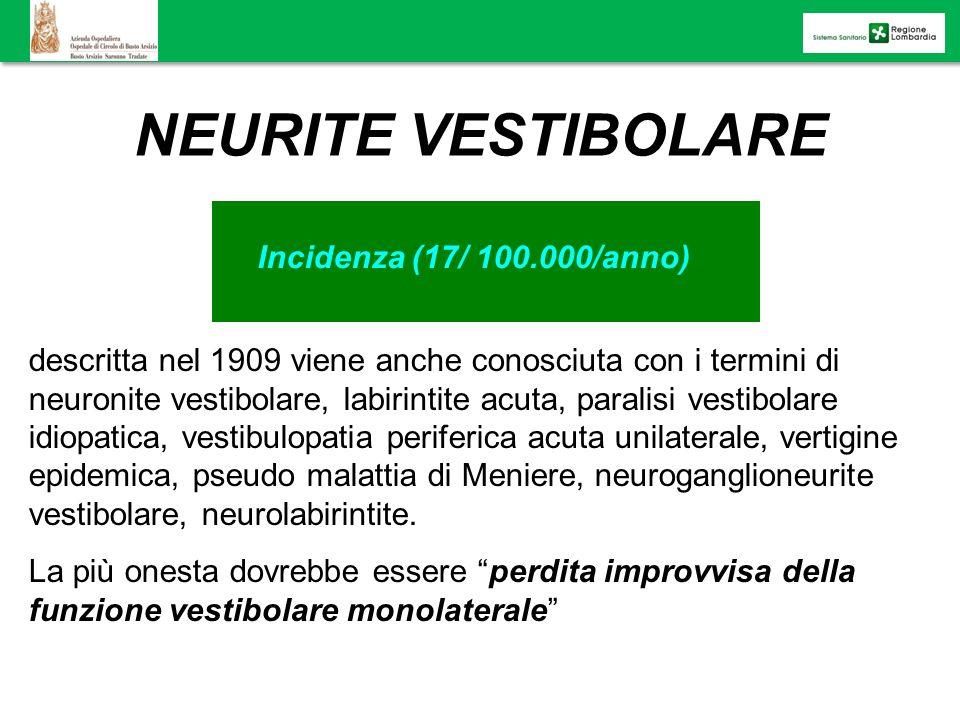 NEURITE VESTIBOLARE Incidenza (17/ 100.000/anno) descritta nel 1909 viene anche conosciuta con i termini di neuronite vestibolare, labirintite acuta,