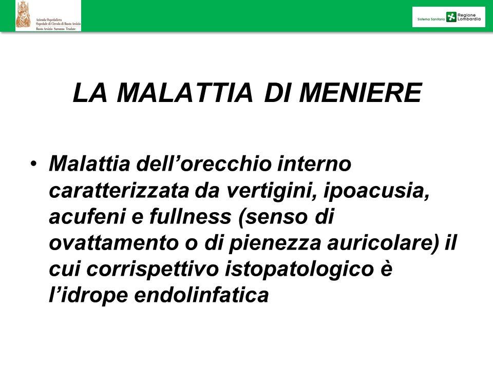 LA MALATTIA DI MENIERE Malattia dellorecchio interno caratterizzata da vertigini, ipoacusia, acufeni e fullness (senso di ovattamento o di pienezza au