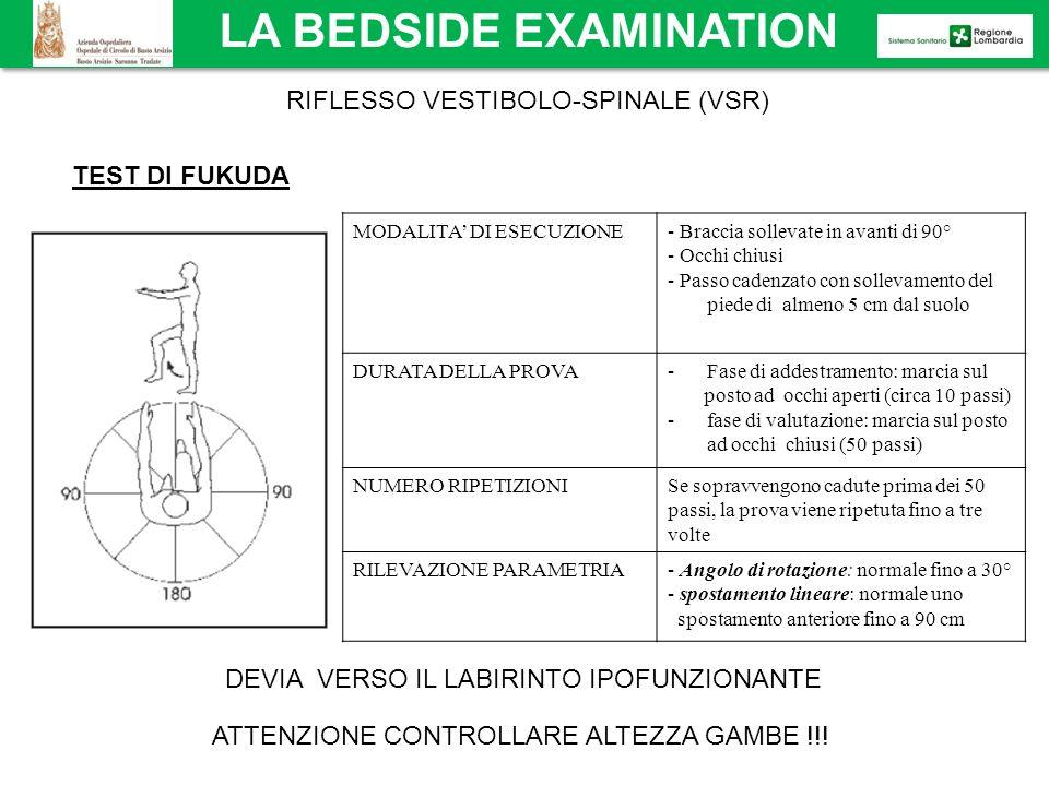 RIFLESSO VESTIBOLO-SPINALE (VSR) TEST DI FUKUDA gira verso il lato deficitario ATTENZIONE CONTROLLARE ALTEZZA GAMBE !!! MODALITA DI ESECUZIONE- Bracci