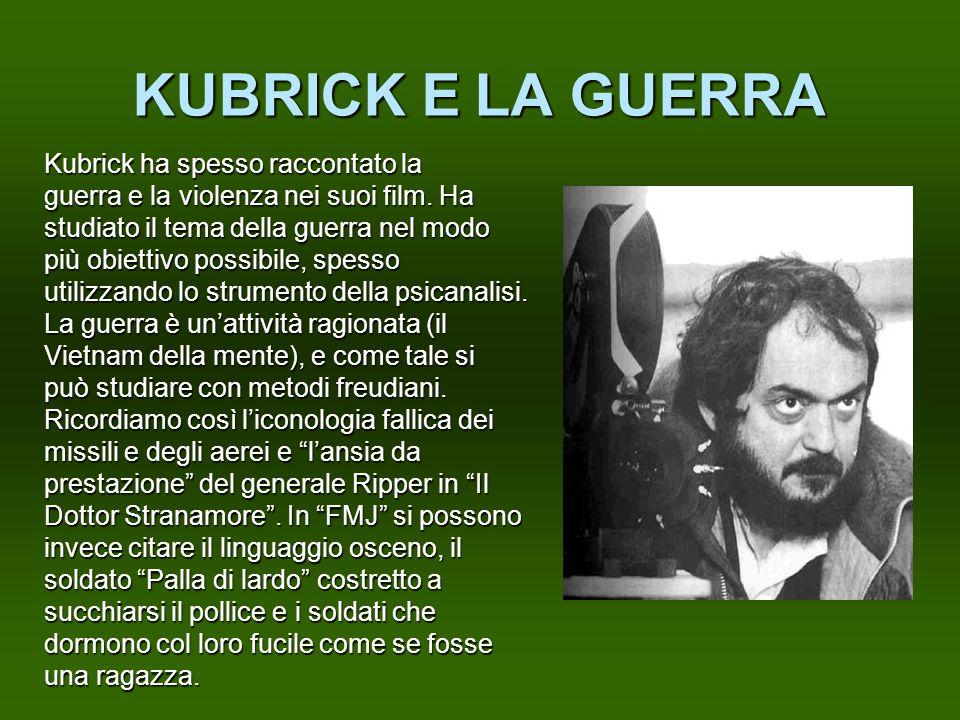 KUBRICK E LA GUERRA Kubrick ha spesso raccontato la guerra e la violenza nei suoi film. Ha studiato il tema della guerra nel modo più obiettivo possib