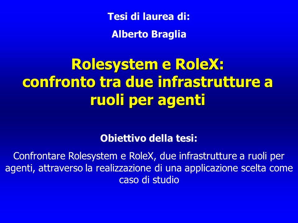Rolesystem e RoleX: confronto tra due infrastrutture a ruoli per agenti Tesi di laurea di: Alberto Braglia Obiettivo della tesi: Confrontare Rolesyste