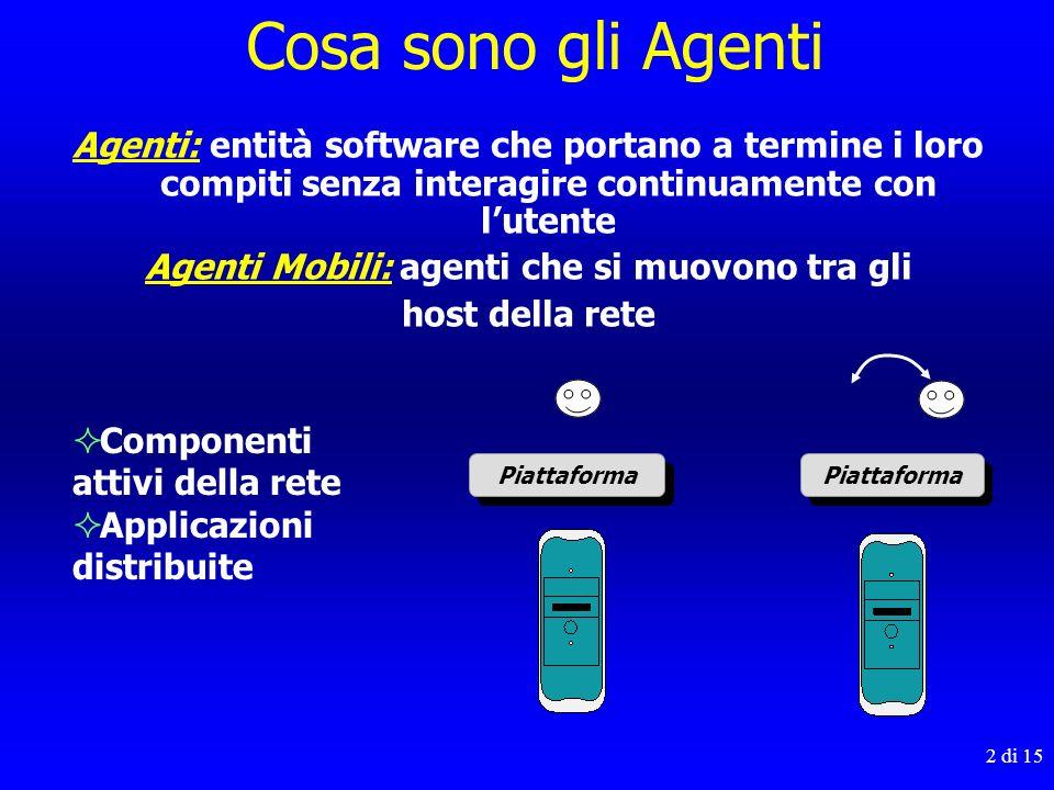 2 di 15 Agenti: entità software che portano a termine i loro compiti senza interagire continuamente con lutente Agenti Mobili: agenti che si muovono t