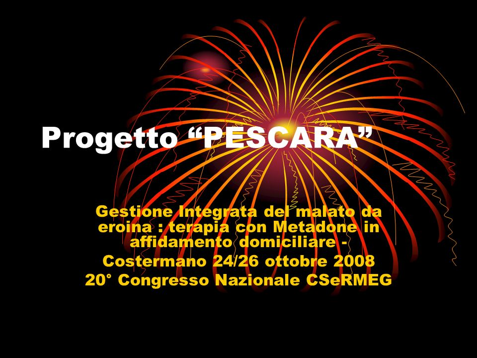 Progetto PESCARA Gestione Integrata del malato da eroina : terapia con Metadone in affidamento domiciliare - Costermano 24/26 ottobre 2008 20° Congresso Nazionale CSeRMEG