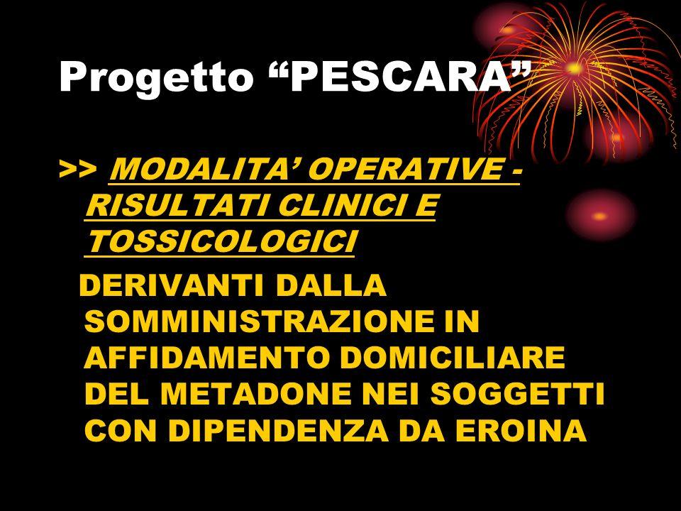 Progetto PESCARA >> MODALITA OPERATIVE - RISULTATI CLINICI E TOSSICOLOGICI DERIVANTI DALLA SOMMINISTRAZIONE IN AFFIDAMENTO DOMICILIARE DEL METADONE NEI SOGGETTI CON DIPENDENZA DA EROINA