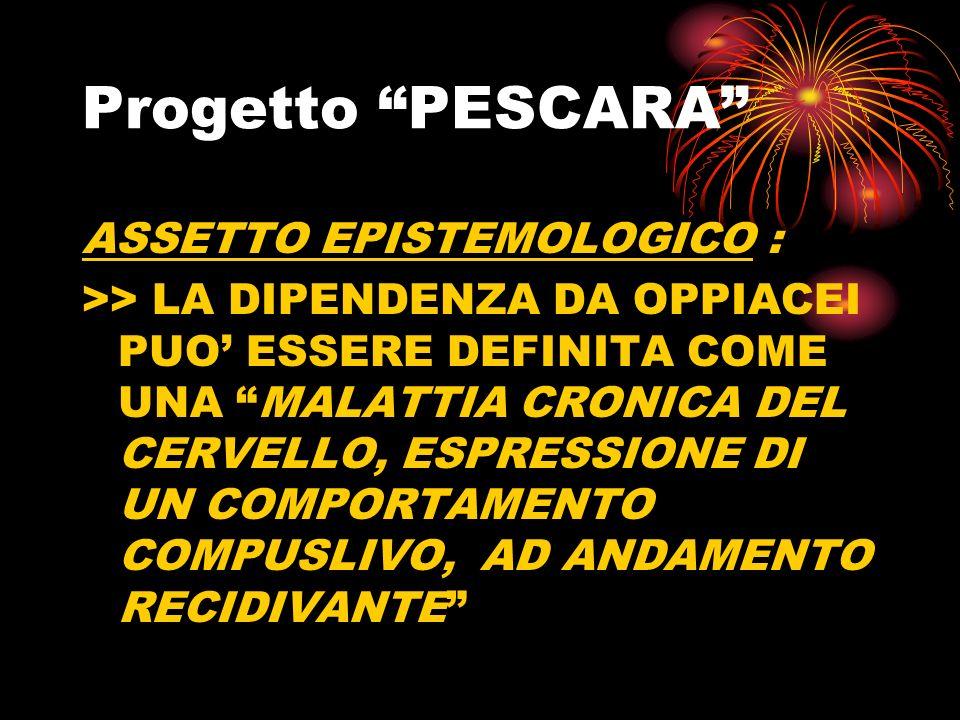 Progetto PESCARA ASSETTO EPISTEMOLOGICO : >> LA DIPENDENZA DA OPPIACEI PUO ESSERE DEFINITA COME UNA MALATTIA CRONICA DEL CERVELLO, ESPRESSIONE DI UN COMPORTAMENTO COMPUSLIVO, AD ANDAMENTO RECIDIVANTE