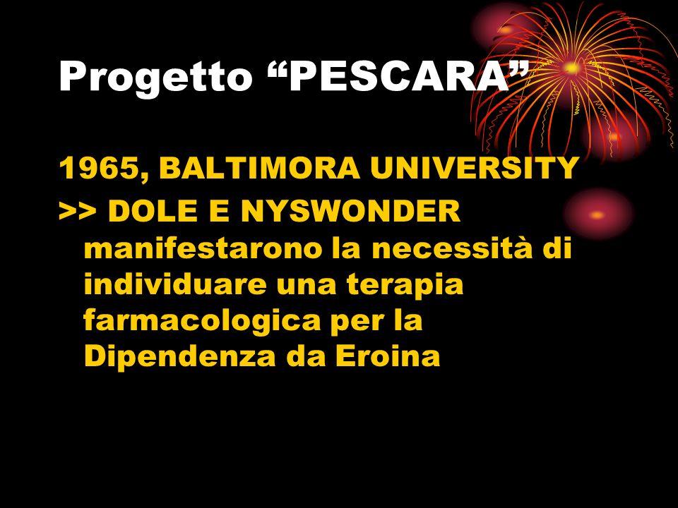 Progetto PESCARA 1965, BALTIMORA UNIVERSITY >> DOLE E NYSWONDER manifestarono la necessità di individuare una terapia farmacologica per la Dipendenza da Eroina