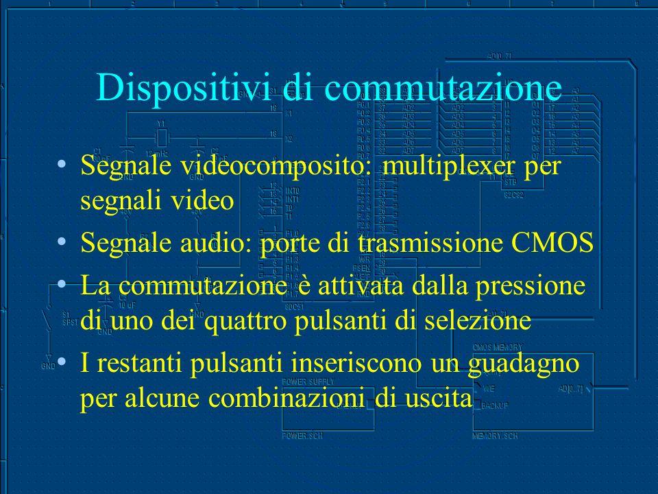 Dispositivi di commutazione Segnale videocomposito: multiplexer per segnali video Segnale audio: porte di trasmissione CMOS La commutazione è attivata dalla pressione di uno dei quattro pulsanti di selezione I restanti pulsanti inseriscono un guadagno per alcune combinazioni di uscita