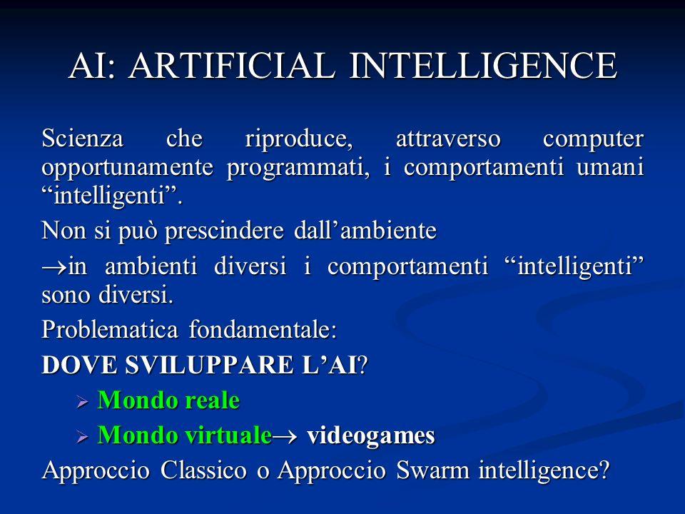 AI: ARTIFICIAL INTELLIGENCE Scienza che riproduce, attraverso computer opportunamente programmati, i comportamenti umani intelligenti.