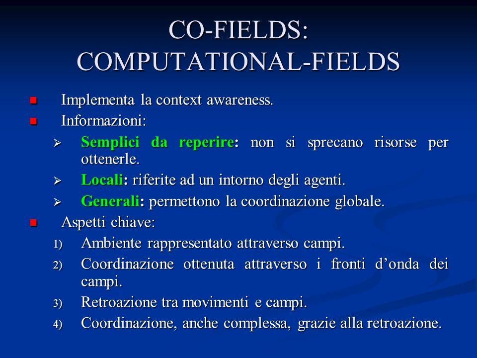 CO-FIELDS: COMPUTATIONAL-FIELDS Implementa la context awareness. Implementa la context awareness. Informazioni: Informazioni: Semplici da reperire: no