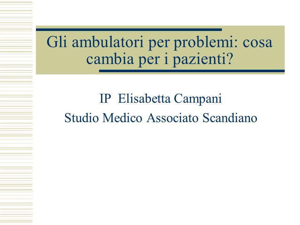 Gli ambulatori per problemi: cosa cambia per i pazienti? IP Elisabetta Campani Studio Medico Associato Scandiano