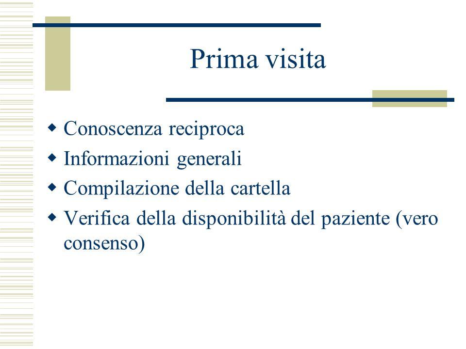 Prima visita Conoscenza reciproca Informazioni generali Compilazione della cartella Verifica della disponibilità del paziente (vero consenso)