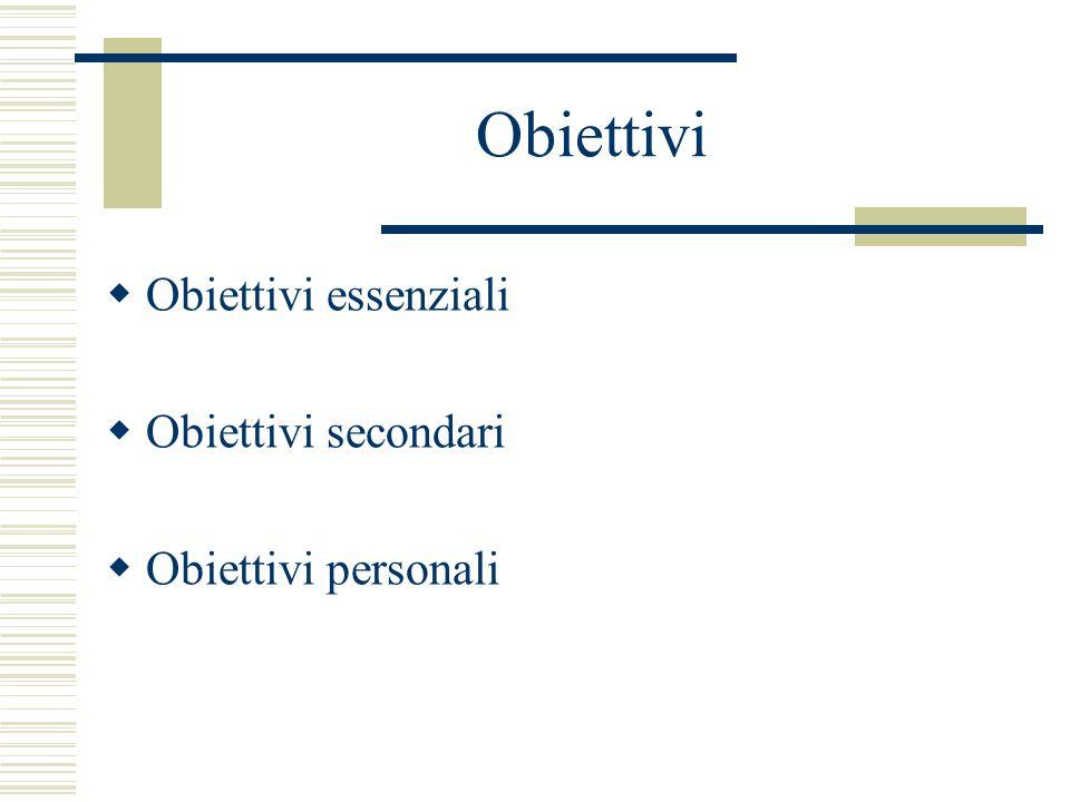 Obiettivi Obiettivi essenziali Obiettivi secondari Obiettivi personali