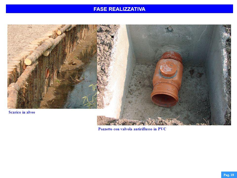 FASE REALIZZATIVA Pag. 18 Pozzetto con valvola antiriflusso in PVC Scarico in alveo
