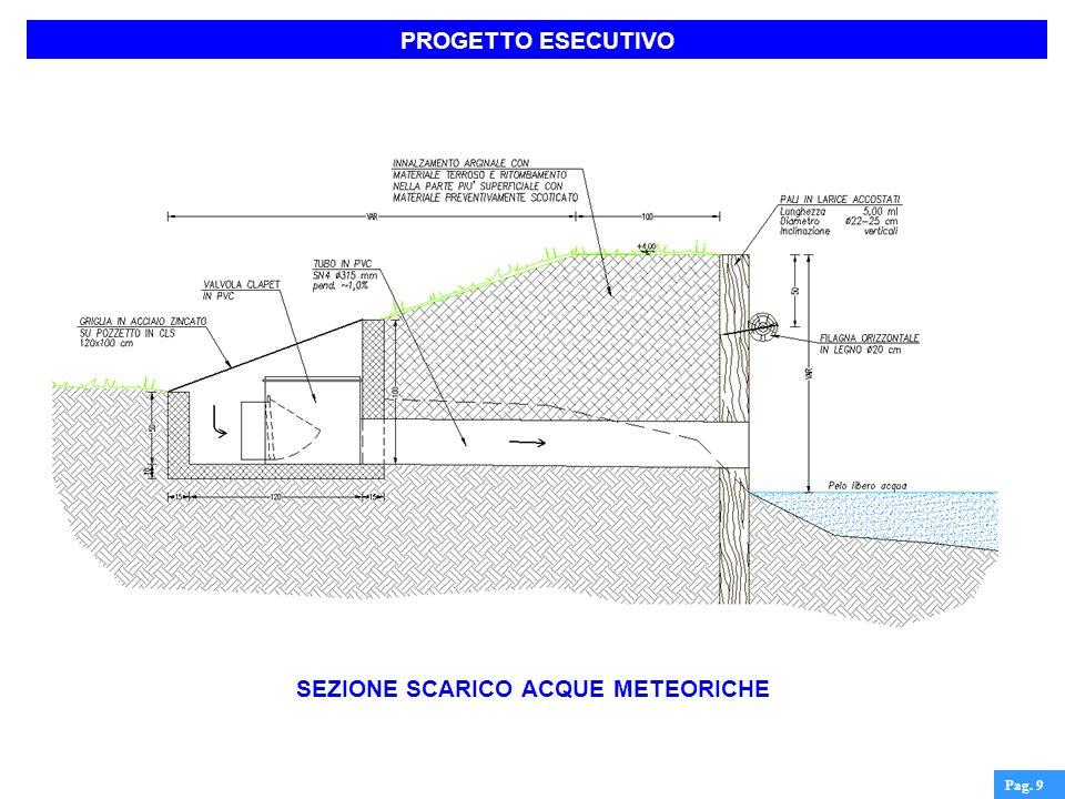 PROGETTO ESECUTIVO Pag. 9 SEZIONE SCARICO ACQUE METEORICHE