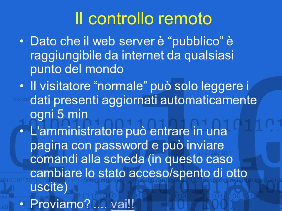 Il controllo remoto Dato che il web server è pubblico è raggiungibile da internet da qualsiasi punto del mondo Il visitatore normale può solo leggere