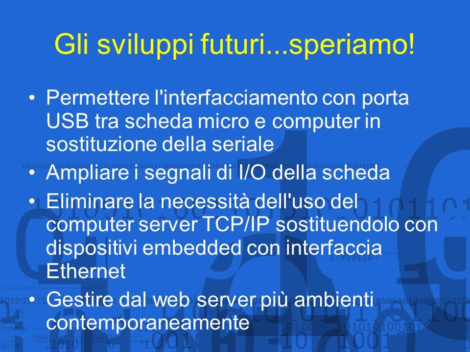 Gli sviluppi futuri...speriamo! Permettere l'interfacciamento con porta USB tra scheda micro e computer in sostituzione della seriale Ampliare i segna
