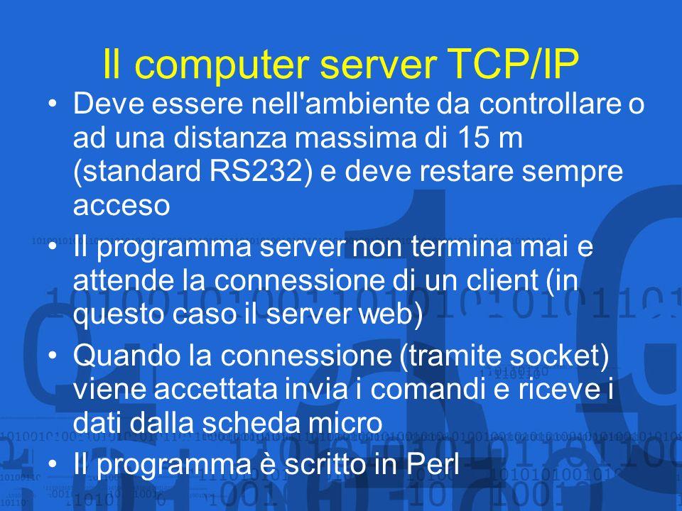 Il web server e client TCP/IP Ha una doppia funzione: Inviare a tempi prestabiliti e/o a discrezione dell operatore i comandi al server TCP/IP Salvare in un database e rendere accessibili in remoto (anche graficamente) i valori delle grandezze controllate Si noti che il significato di server e di client non è legato ad un computer fisico; questo computer è client di quello precedente e contemporaneamente server perchè pubblica pagine web in rete Il programma client TCP/IP è scritto in Perl mentre le pagine web in html dinamico
