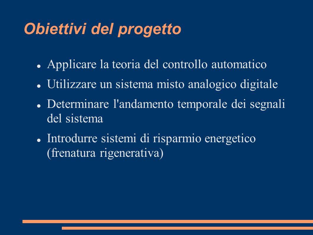 Obiettivi del progetto Applicare la teoria del controllo automatico Utilizzare un sistema misto analogico digitale Determinare l'andamento temporale d