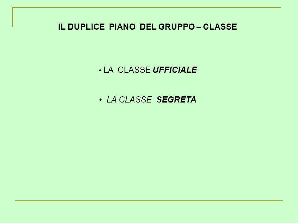 IL DUPLICE PIANO DEL GRUPPO – CLASSE LA CLASSE UFFICIALE LA CLASSE SEGRETA