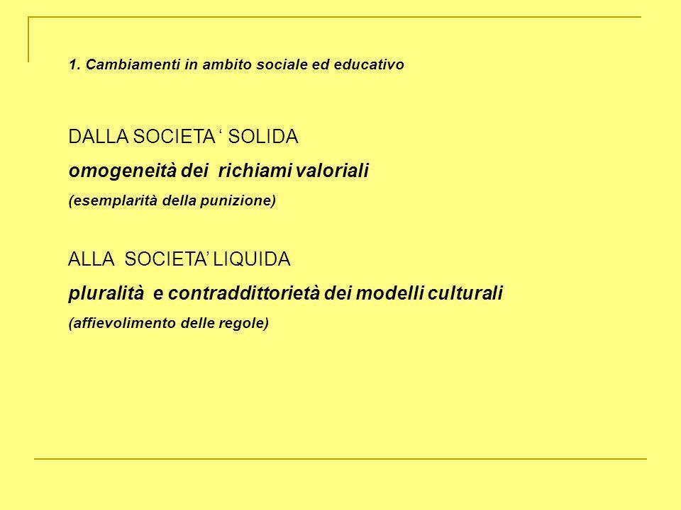 1. Cambiamenti in ambito sociale ed educativo DALLA SOCIETA SOLIDA omogeneità dei richiami valoriali (esemplarità della punizione) ALLA SOCIETA LIQUID