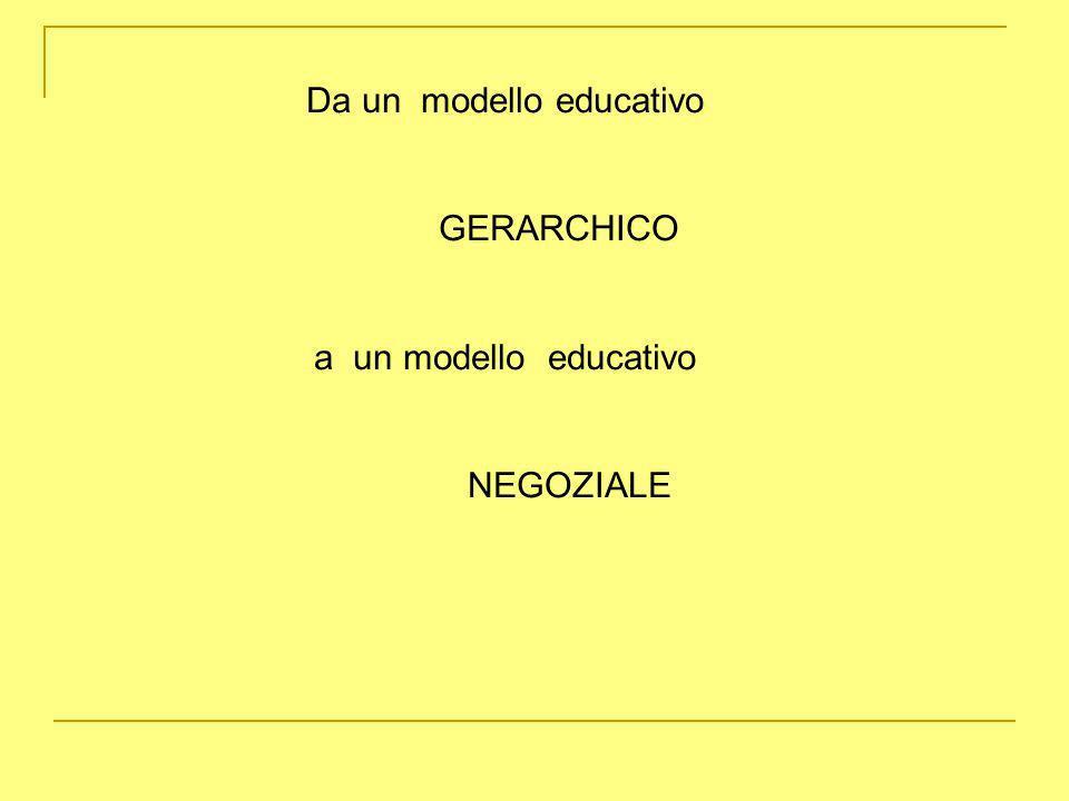 Da un modello educativo GERARCHICO a un modello educativo NEGOZIALE
