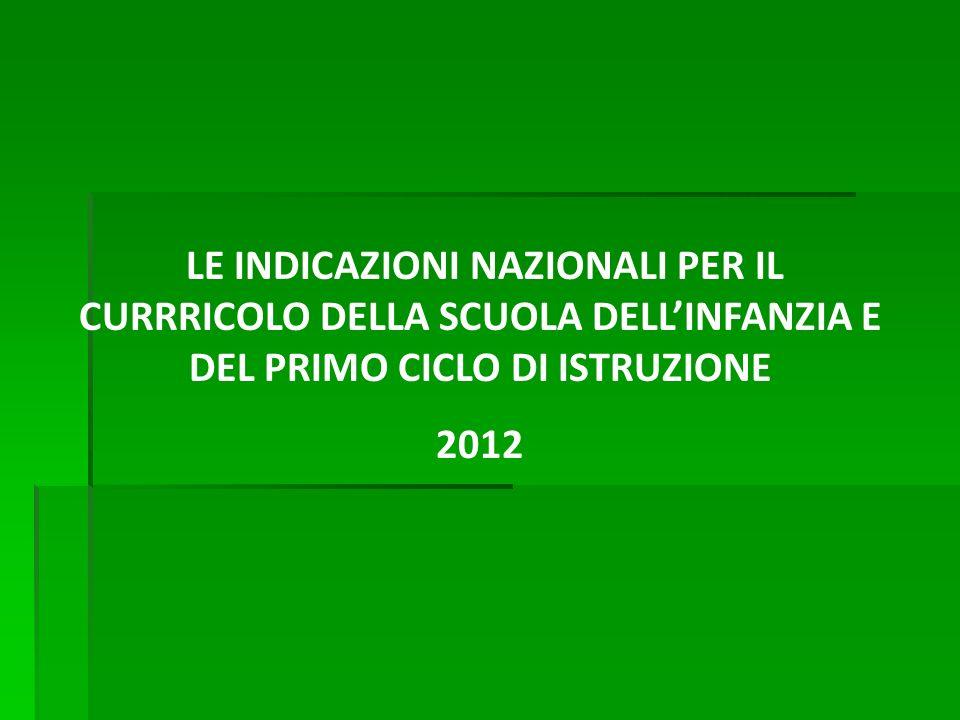 LE INDICAZIONI NAZIONALI PER IL CURRRICOLO DELLA SCUOLA DELLINFANZIA E DEL PRIMO CICLO DI ISTRUZIONE 2012
