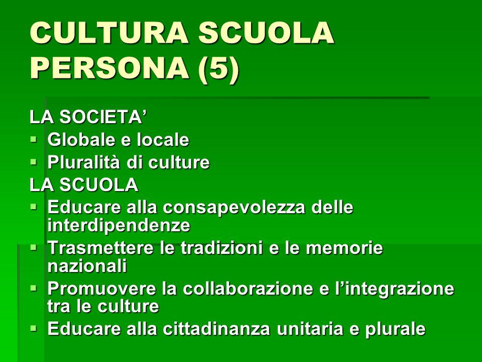 CULTURA SCUOLA PERSONA (5) LA SOCIETA Globale e locale Globale e locale Pluralità di culture Pluralità di culture LA SCUOLA Educare alla consapevolezz