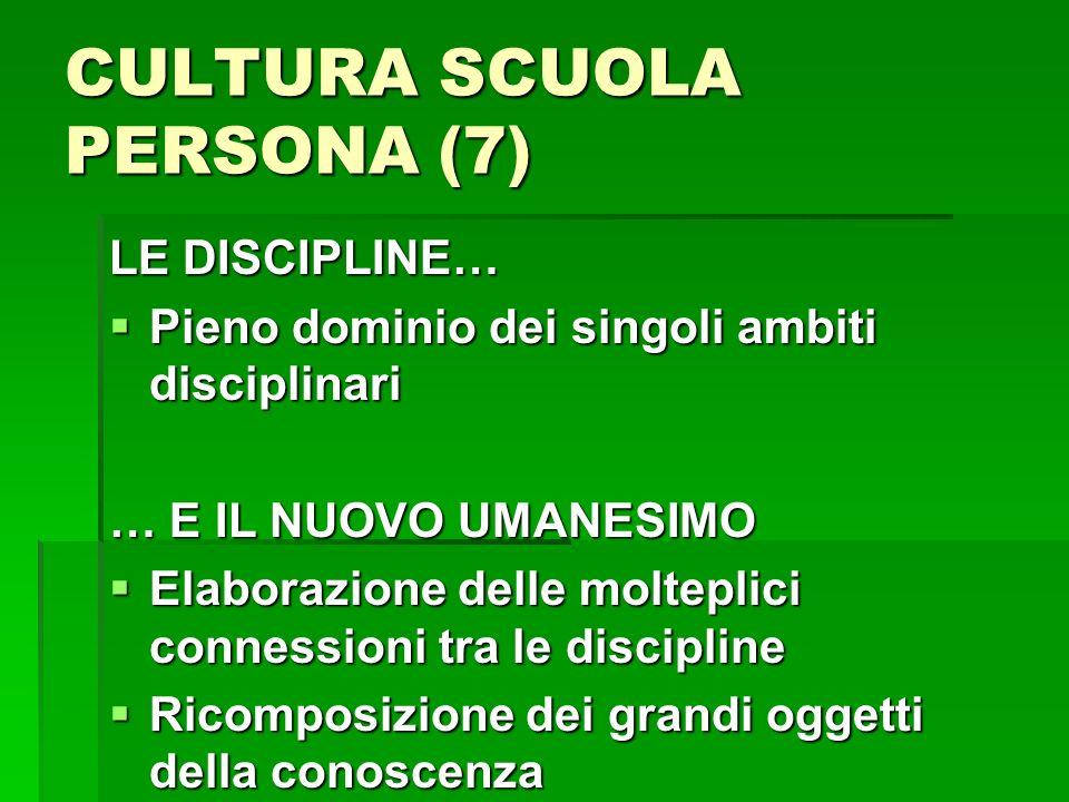 CULTURA SCUOLA PERSONA (7) LE DISCIPLINE… Pieno dominio dei singoli ambiti disciplinari Pieno dominio dei singoli ambiti disciplinari … E IL NUOVO UMA