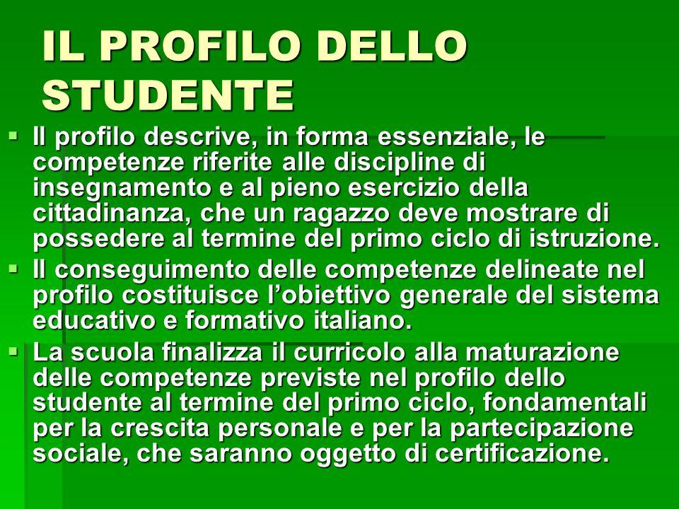 IL PROFILO DELLO STUDENTE Il profilo descrive, in forma essenziale, le competenze riferite alle discipline di insegnamento e al pieno esercizio della