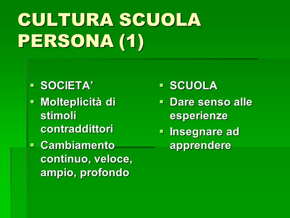 CULTURA SCUOLA PERSONA (1) SOCIETA SOCIETA Molteplicità di stimoli contraddittori Molteplicità di stimoli contraddittori Cambiamento continuo, veloce,