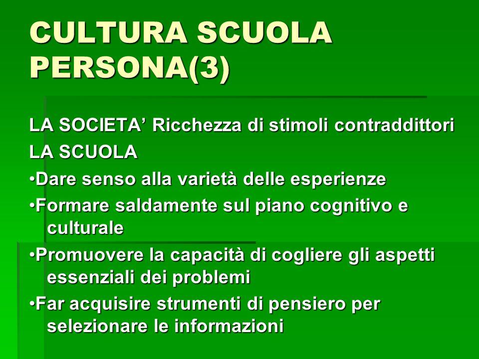 CULTURA SCUOLA PERSONA(3) LA SOCIETA Ricchezza di stimoli contraddittori LA SCUOLA Dare senso alla varietà delle esperienzeDare senso alla varietà del