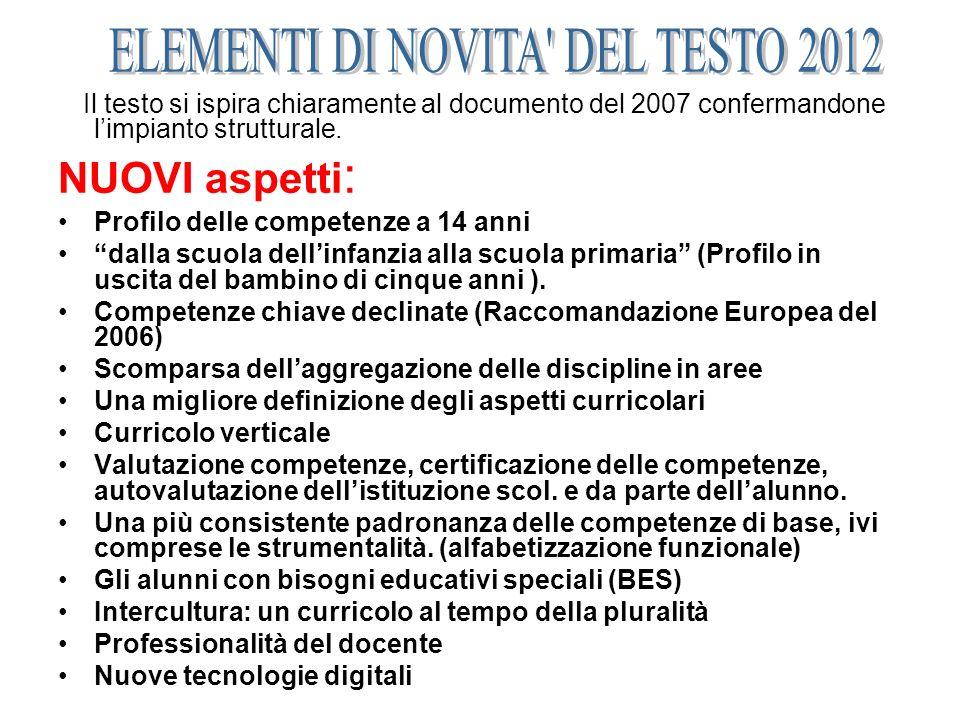 Il testo si ispira chiaramente al documento del 2007 confermandone limpianto strutturale. NUOVI aspetti : Profilo delle competenze a 14 anni dalla scu
