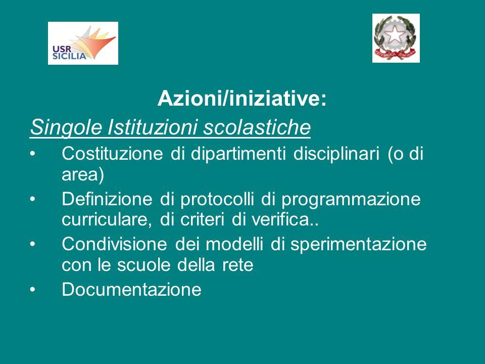 Azioni/iniziative: Singole Istituzioni scolastiche Costituzione di dipartimenti disciplinari (o di area) Definizione di protocolli di programmazione curriculare, di criteri di verifica..