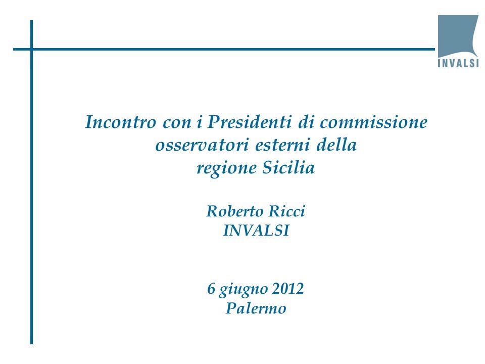 Incontro con i Presidenti di commissione osservatori esterni della regione Sicilia Roberto Ricci INVALSI 6 giugno 2012 Palermo