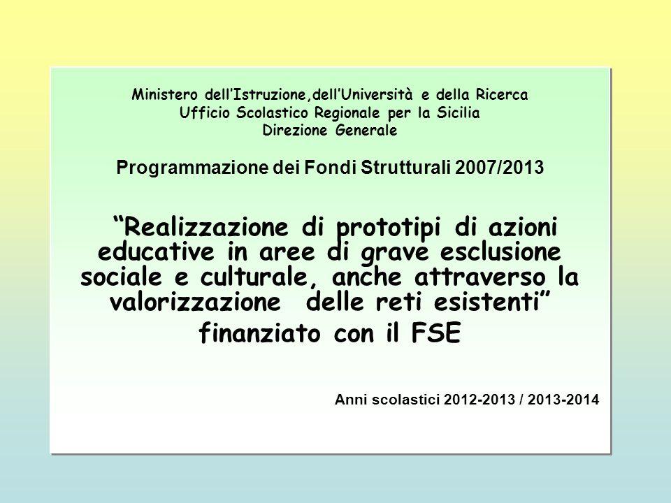 Ministero dellIstruzione,dellUniversità e della Ricerca Ufficio Scolastico Regionale per la Sicilia Direzione Generale Programmazione dei Fondi Strutt