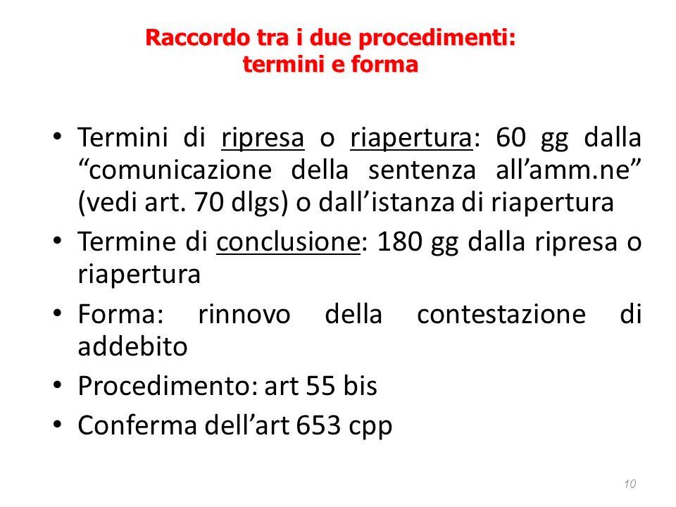 Termini di ripresa o riapertura: 60 gg dalla comunicazione della sentenza allamm.ne (vedi art. 70 dlgs) o dallistanza di riapertura Termine di conclus