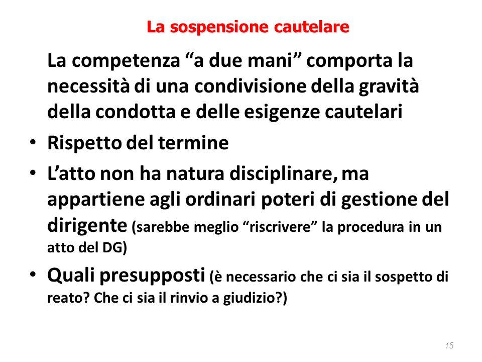 15 La sospensione cautelare La competenza a due mani comporta la necessità di una condivisione della gravità della condotta e delle esigenze cautelari