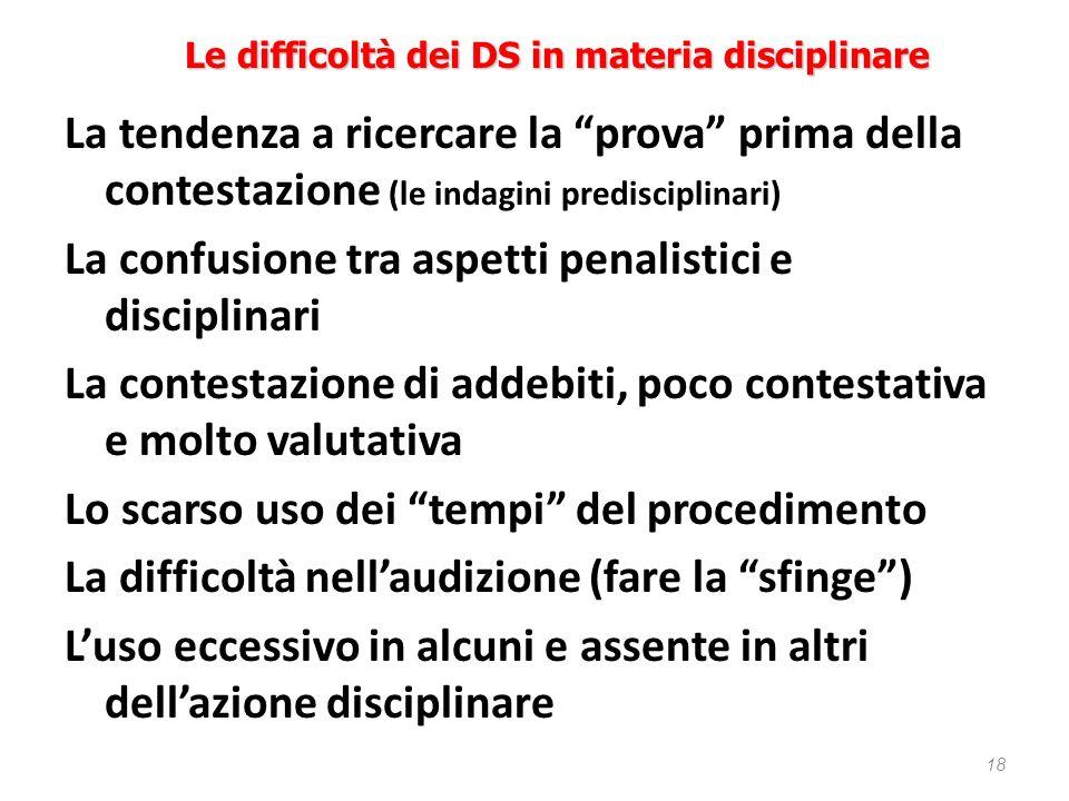 18 Le difficoltà dei DS in materia disciplinare La tendenza a ricercare la prova prima della contestazione (le indagini predisciplinari) La confusione