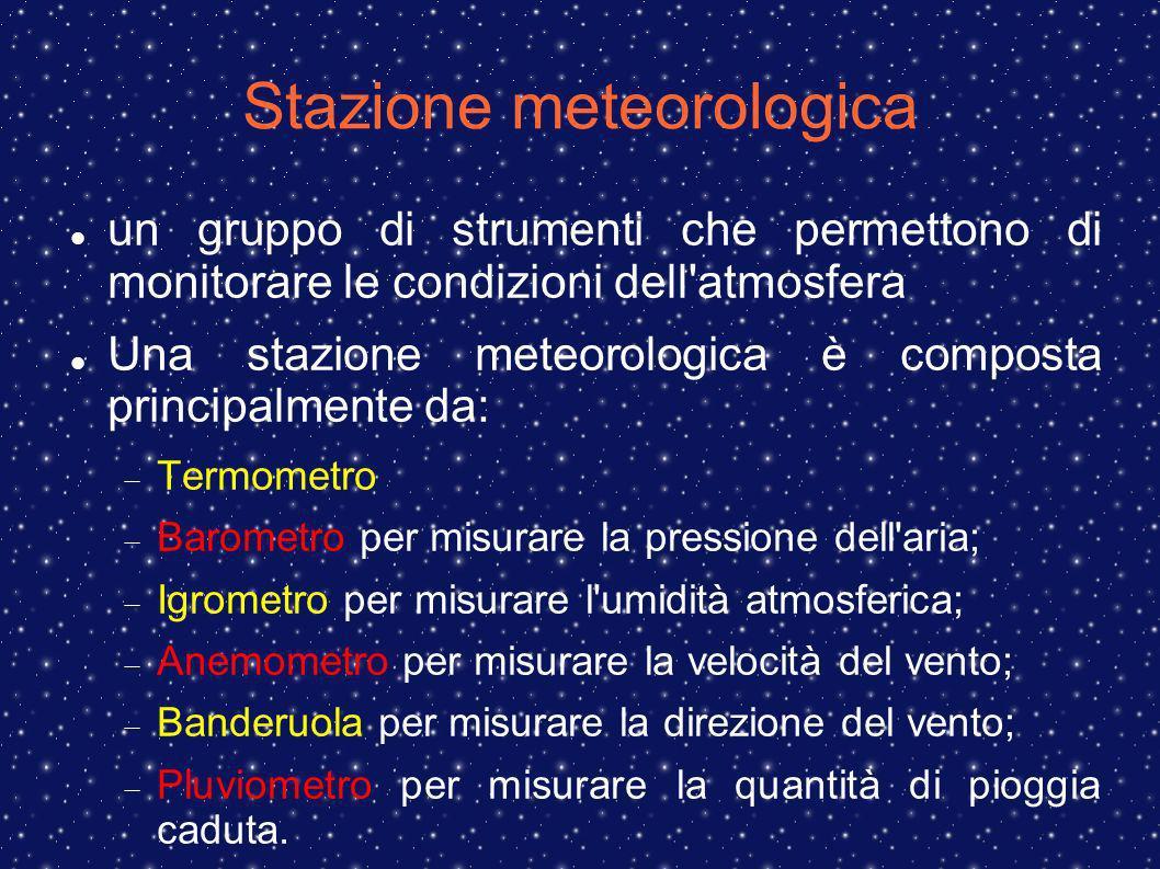 Stazione meteorologica un gruppo di strumenti che permettono di monitorare le condizioni dell'atmosfera Una stazione meteorologica è composta principa
