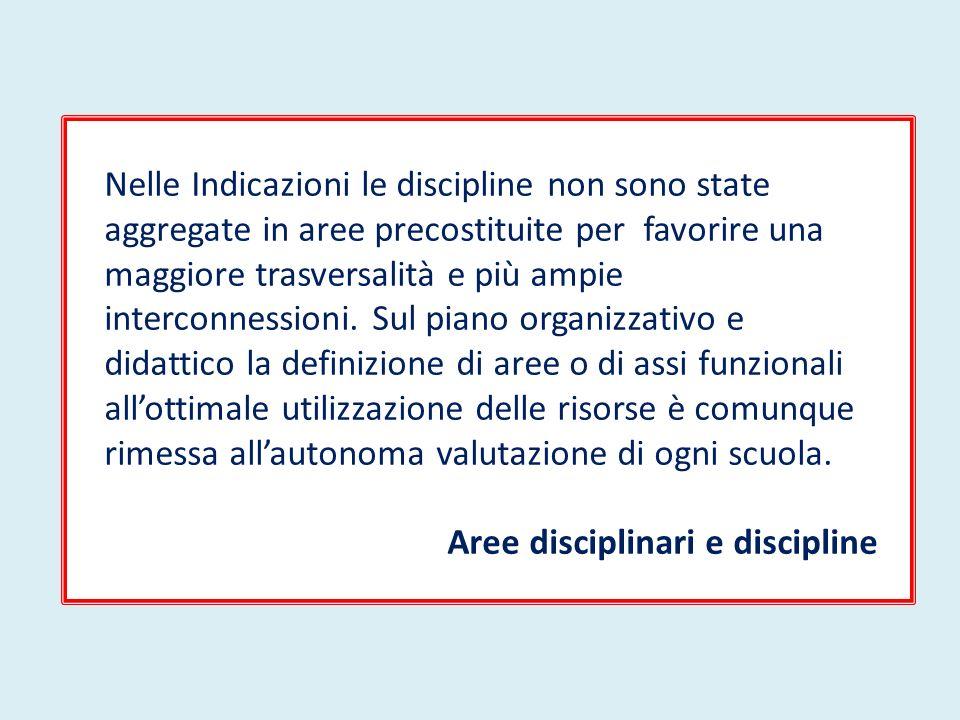 Nelle Indicazioni le discipline non sono state aggregate in aree precostituite per favorire una maggiore trasversalità e più ampie interconnessioni. S