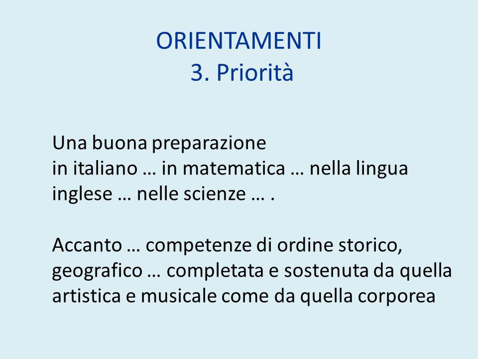 ORIENTAMENTI 3. Priorità Una buona preparazione in italiano … in matematica … nella lingua inglese … nelle scienze …. Accanto … competenze di ordine s
