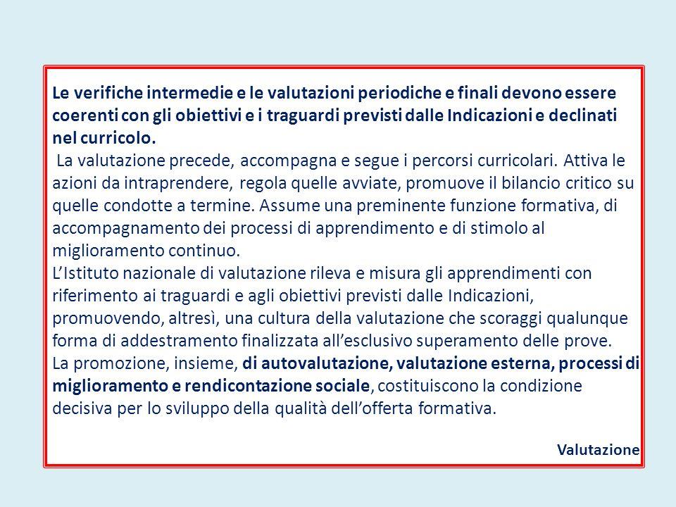 Le verifiche intermedie e le valutazioni periodiche e finali devono essere coerenti con gli obiettivi e i traguardi previsti dalle Indicazioni e decli