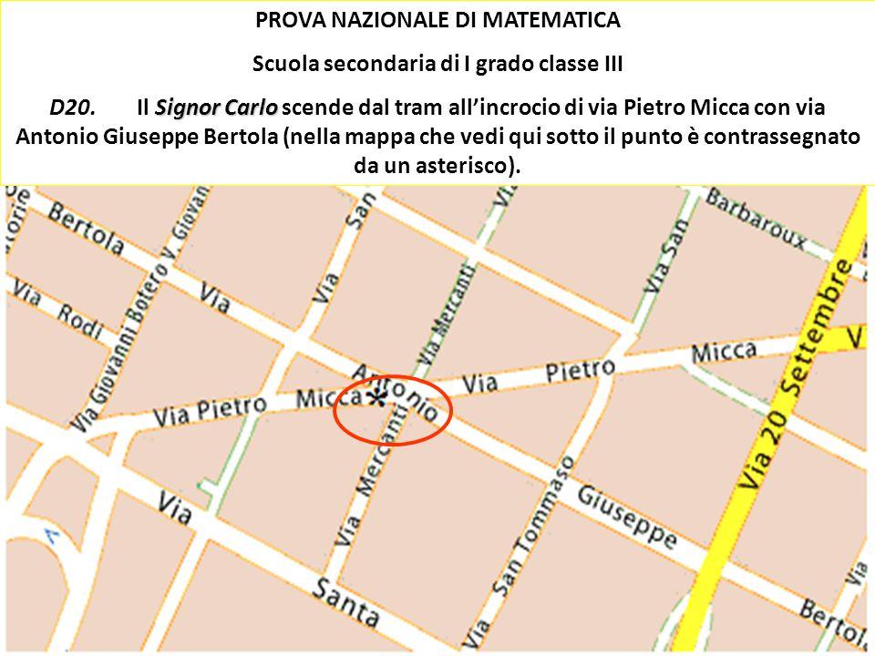 Ischia 2010 Damiano Previtali 35 PROVA NAZIONALE DI MATEMATICA Scuola secondaria di I grado classe III Signor Carlo D20.Il Signor Carlo scende dal tra