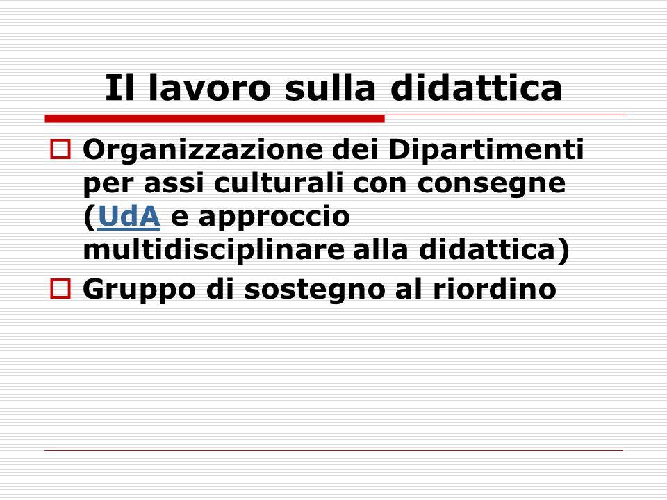 Il lavoro sulla didattica Organizzazione dei Dipartimenti per assi culturali con consegne (UdA e approccio multidisciplinare alla didattica)UdA Gruppo di sostegno al riordino